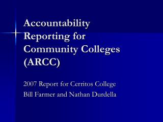 Accountability Reporting for Community Colleges (ARCC)