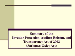 Public Company Accountability Oversight Board