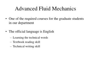 Advanced Fluid Mechanics