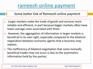Find information about rameesh online payment