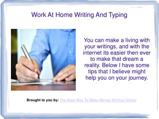Work At Home Writing And Typing