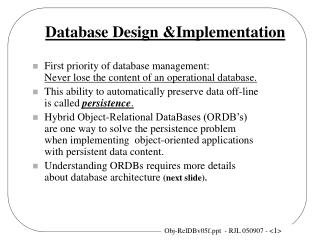 Database Design &Implementation