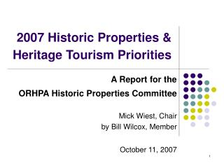 2007 Historic Properties & Heritage Tourism Priorities
