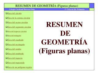 RESUMEN  DE GEOMETRÍA (Figuras planas)