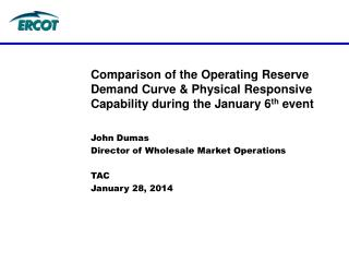 John Dumas Director of Wholesale Market Operations TAC January 28, 2014