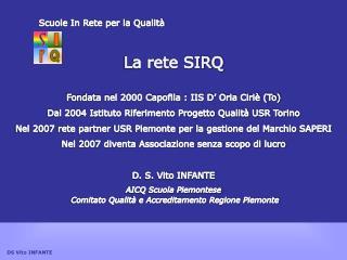 Scuole In Rete per la Qualità La rete SIRQ  Fondata nel 2000 Capofila : IIS D' Oria Ciriè (To)