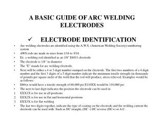 A BASIC GUIDE OF ARC WELDING ELECTRODES