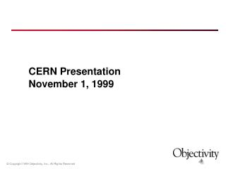 CERN Presentation November 1, 1999