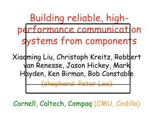 Building reliable, high-performance communication systems from components
