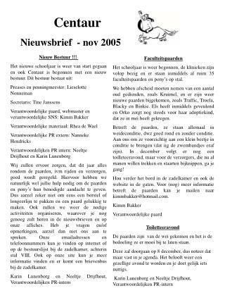 Centaur  N ieuwsbrief  -  nov  2005