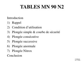 TABLES MN 90 N2