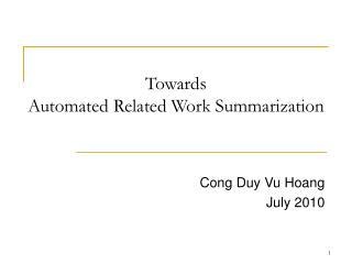 Towards Automated Related Work Summarization