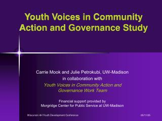 Youth Voices in Community Action and Governance Study