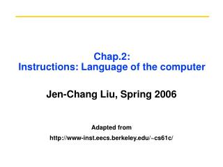 Chap.2: Instructions: Language of the computer