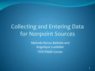 Collecting and Entering Data for Nonpoint Sources