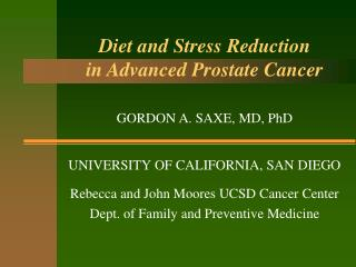 Diet and Stress Reduction in Advanced Prostate Cancer