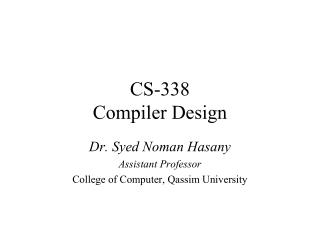 CS-338 Compiler Design