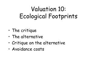 Valuation 10: Ecological Footprints