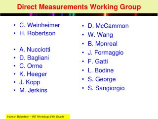 Direct Measurements Working Group