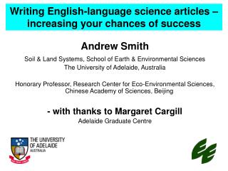 Writing English-language science articles – increasing your chances of success