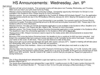 HS Announcements:  Wednesday, Jan. 9 th