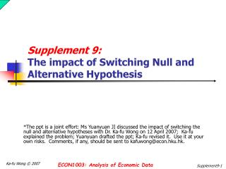Supplement 9:  The impact of  Switching Null and Alternative Hypothesis