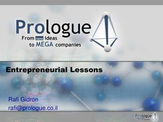 Entrepreneurial Lessons
