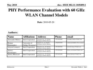 PHY Performance Evaluation with 60 GHz WLAN Channel Models