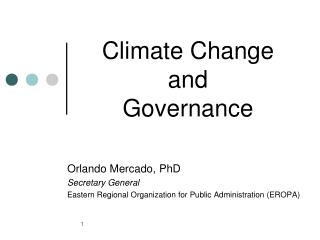 Climate Change       and Governance