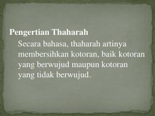 Pengertian Thaharah
