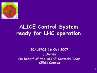 ALICE Control System ready for LHC operation