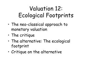 Valuation 12: Ecological Footprints