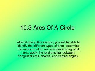 10.3 Arcs Of A Circle