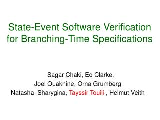 State-Event Software Verification for Branching-Time Specifications