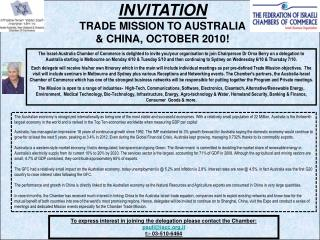 INVITATION  TRADE MISSION TO AUSTRALIA  & CHINA, OCTOBER 2010!