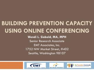 Building Prevention Capacity Using Online Conferencing
