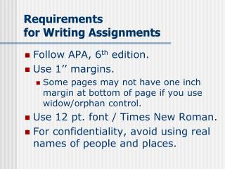 Requirements for Writing Assignments