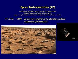 In-situ instrumentation for planetary surface exploration:  present and future