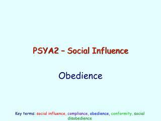 PSYA2 – Social Influence