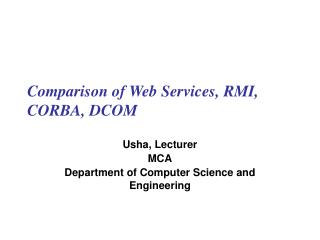 Comparison of Web Services, RMI, CORBA, DCOM