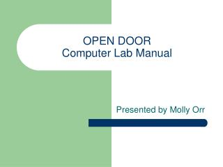 OPEN DOOR  Computer Lab Manual
