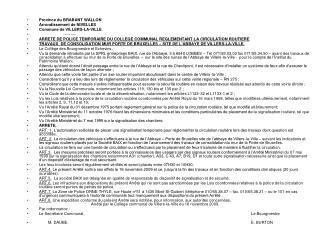 Province du BRABANT WALLON Arrondissement de NIVELLES Commune de VILLERS-LA-VILLE