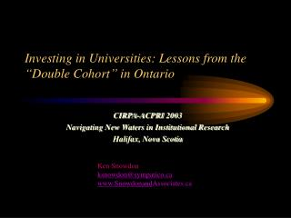 "Investing in Universities: Lessons from the ""Double Cohort"" in Ontario"