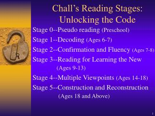 Chall s Reading Stages: Unlocking the Code