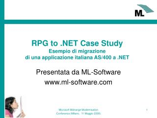 RPG to .NET Case Study Esempio di migrazione  di una applicazione italiana AS/400 a .NET