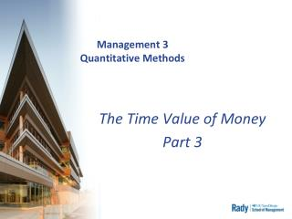 Management 3 Quantitative Methods