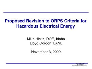 Proposed Revision to ORPS Criteria for Hazardous Electrical Energy