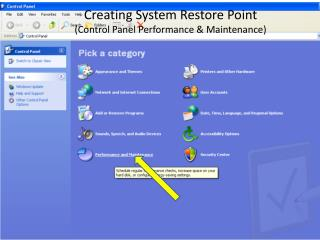 Creating System Restore Point (Control Panel Performance & Maintenance)
