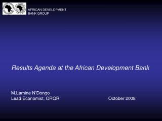 Results Agenda at the African Development Bank
