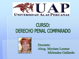 CURSO: DERECHO PENAL COMPARADO